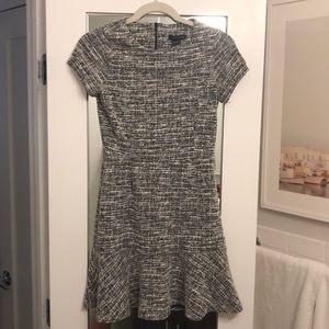 AQUA tweed fit and flare dress